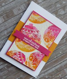 Here is a Christmas card made using non-traditional summery colours and the the gorgeous Beautiful Bauble stamp set by Stampin' Up! Christmas Cards To Make, Xmas Cards, Christmas Greetings, Handmade Christmas, Christmas Gifts, Holiday, Card Ideas, Gift Ideas, Happy Year