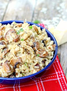 This recipe is the perfect mushroom risotto recipe. Fool-proof simple, perfect meatless main dish or side. Company worthy, easily adapted for a vegan main dish as well.