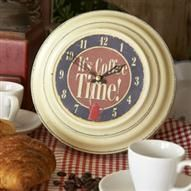Roger Lascelles Tin Wall Clock Coffee Design, Cream