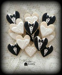 Mini Wedding GownTuxedo Decorated Cookies