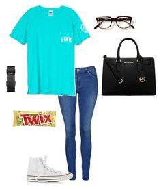 """Going to bible study"" by livimay ❤ liked on Polyvore featuring Topshop, Converse, MICHAEL Michael Kors and Fitbit"