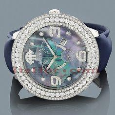 This Mens Diamond Watch showcases 10.25 carats of genuine diamonds on the 3-row diamond  bezel, very nice watch...