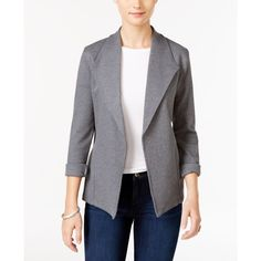 Style & Co. Knit Blazer, ($30) ❤ liked on Polyvore featuring outerwear, jackets, blazers, steel grey, sport blazer, knit jacket, sport jacket, blazer jacket and sport blazers jacket