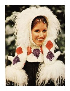 Knitting Pattern - Vintage Ski Hat Snood Hood - Fun Fur Cowl - Mittens Set - PDF Instant Download - Gloves - Scarf Set - Faux Fur Hat - Vtg by GrandmaHadItGoinOn on Etsy https://www.etsy.com/listing/204350368/knitting-pattern-vintage-ski-hat-snood