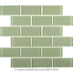 BuildDirect: Glass Tile Crystalized Glass Blend Series Mint Green Subway