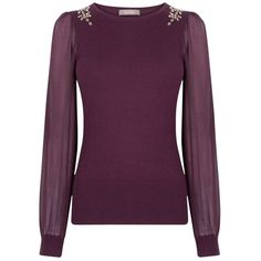 Oasis Chiffon Sleeve Embellished Shoulder Knit, Dark Purple ($40) ❤ liked on Polyvore featuring tops, long sleeve chiffon top, evening wear tops, long sleeve knit tops, chiffon sleeve top and sparkly tops