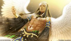 Thoth in his god form. -- Anime, Kamigami no Asobi, character, official art, handsome and attractive man