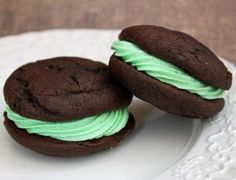 chocolate mint whoopie pies - the middle tastes like a shamrock shake!