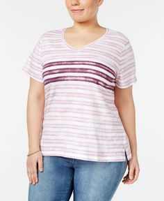 Style & Co Plus Size Tie-Dyed Striped Top, Only at Macy's