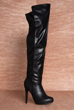 Fierce Fiat Faux Suede Trim Thigh High Faux Leather Stiletto Boots PAMELA-13 - Black from Breckelles at Lucky 21