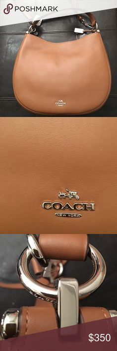 Coach hobo NWT!! Coach nomad hobo bag in glove tanned leather.  In classic Saddle color. Duster included. Includes a removable longer shoulder strap. Currently on coach website style 36026 Coach Bags Hobos