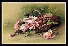 Carte postale moderne/ illustrateur C. KLEIN fleurs roses dans panier osier