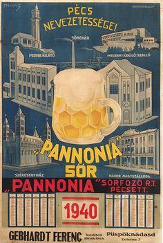 Pannónia Beer, Hungary, 1940