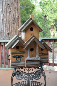 Vintage  Multi Condo Rustic Birdhouse  by BirdhousesByMichele, $275.00