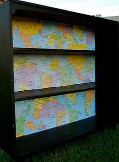 dollar store maps & yard sale bookcase = best map DIY ever