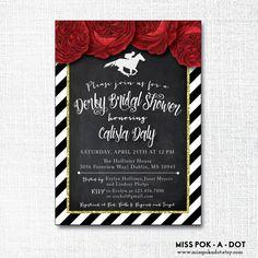 Kentucky Derby Bridal Shower invitation  run for by misspokadot