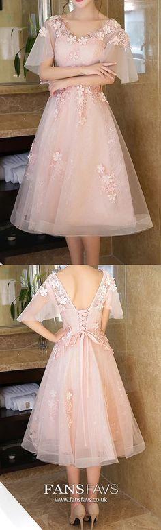 Pink Homecoming Dresses Princess, Short Prom Dresses V Neck, Modest Sweet Sixteen Dresses Tulle, Elegant Sweet 16 Lace #FansFavs #homecomingdresses #pinkdress #princessdresses