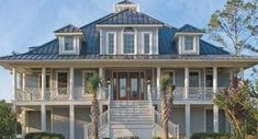 A real live blue except it's elevated so it works waterside. Coastal House Plans, Beach House Plans, Cottage House Plans, Cottage Homes, Beach House Decor, Farm House, Beach Cottage Style, Coastal Cottage, Coastal Homes