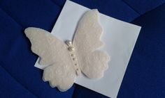 Butterfly ,Handmade  Card - Cream and Pearl,  Parchment Craft, flowers, blank , FREEPOST UK