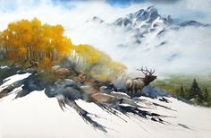 Wildlife Art, Original Paintings, Contemporary Artwork, and Giclee Prints by Morten E. Watercolor Artists, Watercolor Animals, Watercolor Landscape, Landscape Paintings, Watercolour Paintings, Watercolors, Watercolor Trees, Watercolor Portraits, Abstract Paintings