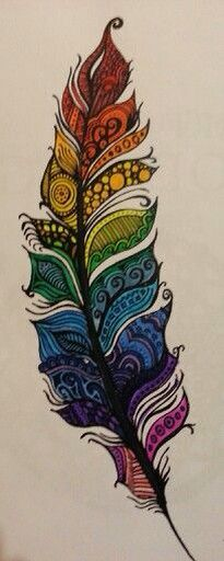 The term Zentangle refers to an art making method that enables you to to create unique and complex designs using repetitive patterns. The trademarked Zentangle Method was invented by Rick Roberts. Coloured Feathers, Colorful Feathers, Feather Art, Tattoo Feather, Feather Drawing, Feather Painting, Inspiration Art, Zentangle Patterns, Zentangles