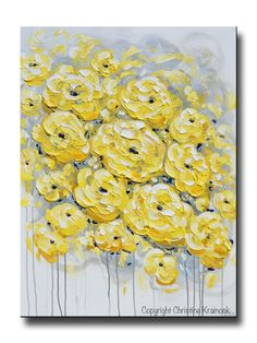 ORIGINAL Art Yellow Grey Abstract Painting Flowers LARGE Wall Art Coastal Gold White Peonies Roses Floral