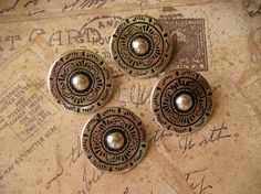 """Beautiful Large Antiqued Silver Metal Buttons, Made In Austria. $4.95, via Etsy.  set of 4 7/8""""ea"""