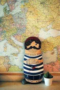 Mustach marine skateboard deck by Kre Little Lab #tattoos #marine #board
