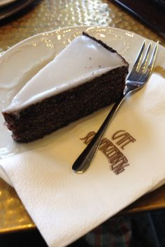 "Mohn Cake (poppyseed or ""opium"" cake as our waiter translated) from Cafe Schwarzenberg in Vienna, Austria."