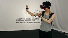 壁に突きあたったりと、物理的には存在しないモノを感じることができるVR。筋肉に電気刺激を送る「電気刺激療法」を活用して、VR上で何かに触れたときに筋肉が反応するようなアプローチで実現しています。