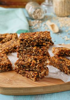 Date, seed and nut muesli bars. Free from refined sugar and can easily be made vegan.