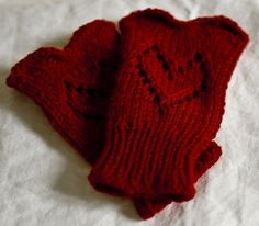 Free knitting pattern for Heart Mitts, fingerless gloves with heart lace motif