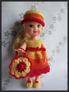 """Kelly Doll Crochet Clothes """"Color Palette"""", bag and shoes!!!"""
