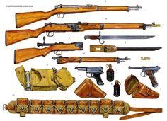 Armas de paracaidistas  1: Pistola Nambu Tipo 94  2: Pistola Nambu Tipo 14  3: Bayoneta Tipo 30 Modelo 1897, de 39 cm  4: Granada de mano Tipo 97  5: Granada de mano Tipo 99  6: Mina magnetica antiblindaje Tipo 99  7: Carabina Tipo 38   8, 9 y 10: Fusil Tipo 2 con cañon desmontable   11: Cinturon de paracaidista con 9 bolsillos