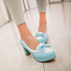 Vogue Contrast Color Bowknot Slip On Pumps Shoes Womens Dress Court High Heels