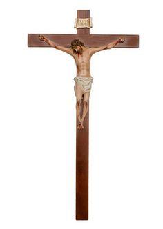 altezza Cristo cm. 80 in vetroresina croce di legno cm. 180x105 dipinto con colori acrilici e finiture ad olio  http://www.ovunqueproteggimi.com/collezione-statue/ges%C3%B9/cristo-in-croce/