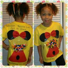 Celebrating 100 days of school, made this no sew shirt with real gumballs. 50 in. - 100 Days of School 💯 100 Day Of School Project, 100 Days Of School, First Day Of School, School Fun, School Projects, Projects For Kids, School Ideas, School Stuff, 100 Day Shirt Ideas