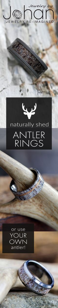 Deer antler rings (and camo rings) are highly sought after by hunting couples and outdoor lovers. Or, if you want a gift for the special hunter in your life, a natural deer antler ring makes the perfect surprise. Antlers of a trophy buck are prize. Deer Antler Wedding Band, Deer Antler Ring, Fall Wedding, Our Wedding, Dream Wedding, Wedding Engagement, Wedding Bands, Wedding Ring, Engagement Rings