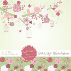 80% OFF SALE Pink & Mint Wedding Flowers by HuckleberryHearts