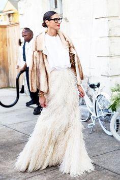 Jenna Lyons fur coat and feathered maxi skirt