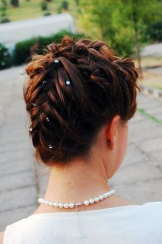 Wedding hair do with crystals and braid. Romantic style. Makeup and hair made by YS