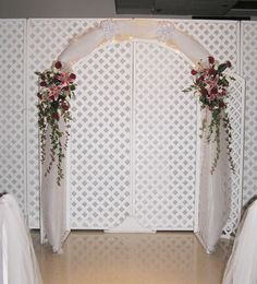 indoor wedding altars   Wedding Arch Ideas  in front of the sheer backdrop rather than lattice