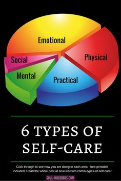How are you doing with these 6 types of self-care? Click through to read the post and pick up a downloadable worksheet to see where you are in (or out) of balance.