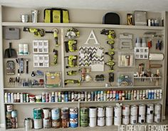 Tutorial for Organizing the Garage with a Pegboard Storage Wall. Tutorial for making a pegboard storage wall that is a great solution for organizing the garage. Step-by-step instructions and great tips for layout. Pegboard Garage, Diy Garage Storage, Garage Walls, Storage Ideas, Organized Garage, Tool Storage, Hang Pegboard, Storage Solutions, Paint Storage