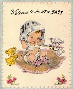 Vintage 1950s Welcome To The New Baby by poshtottydesignz on Etsy