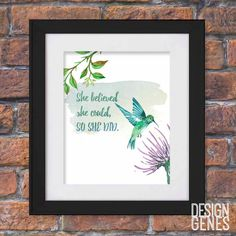 "New to DesignGenesStudio on Etsy: Inspirational quote wall print ""she believed she could so she did"" new baby gift nursery decor printable 8x10 digital PDF (5.00 USD) #greetingcards #mugs #gifts"