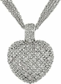 1 Carat Diamond Heart Necklace w/ Sterling Silver Amour. $168.00. Save 49% Off!