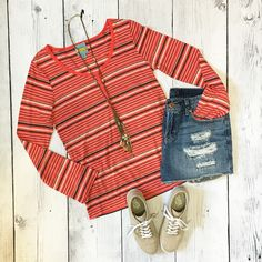 """No signs of wear! Super cute and light weight. Orangish Red color with Tan and Gray stripes. Long sleeve. Fabric tag is cut out but it feels like cotton. Very soft!! Has stretch.  U to U 18""""  Length 27""""  Sleeve is slightly over 25"""" from shoulder hem to end.   Shop this product here: spreesy.com/Shopmythreads/70   Shop all of our products at http://spreesy.com/Shopmythreads      Pinterest selling powered by Spreesy.com"""