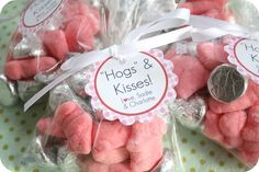 "craftiness is not optional: ""hogs"" and kisses valentines day treats (gummy pigs and hershey kisses). So cute!"