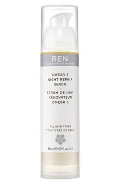 REN Omega 3 Night Repair Serum | $60, Nordstromcom | An oil-based serum that replenishes skin lipids to leave your complexion looking naturally smoother, plumper and healthier. Calms and soothes while encouraging the natural process of skin renewal. Replenishes the skin's moisture barrier to optimize the effectiveness of your skincare regimen.